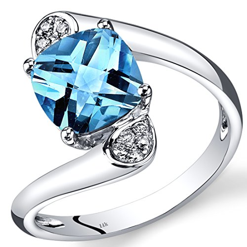 14K White Gold Swiss Blue Topaz Diamond Bypass Ring Cushion (White Topaz Bypass Ring)