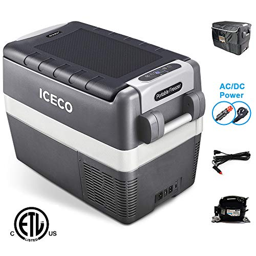 ICECO JP40 Portable Refrigerator Freezer Fridge 12V Cooler, 40 Liters Compact Refrigerator, 0℉~50℉, DC 12/24V, AC 110-240V, for Car, Truck, RV, Van, Outdoor, Camping, Picnic (40l Fridge)
