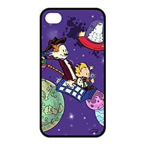 4S Case,TPU iPhone 4s Case,Calvin and Hobbes Design Fashion Pattern Hard Back Cover Snap on Case for iPhone 4 / 4s (Black/white)