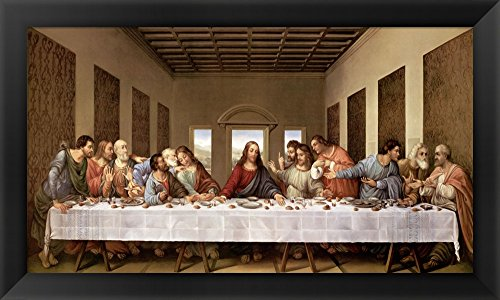 The Last Supper by Leonardo Da Vinci Framed Art Print Wall Picture, Black Flat Frame, 35 x 19 inches by Great Art Now