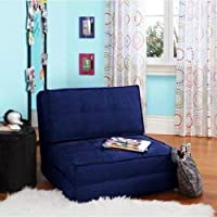 Navy Blue Flip Out Folding Sleeper Chair Pull Down Sofa Bed Seat Living Room Furniture