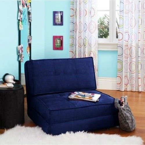 Your Zone Navy Blue Flip Out Folding Sleeper Chair Pull D...