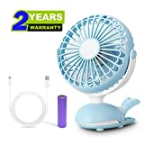 Clip Fan Battery Operated Portable Stroller Fans Cute Whale Design Rechargeable USB Personal Silent Desk Fans Adjustable Tilt Whisper Quiet Operation for Treadmill Dorm Bed Tent Camp Blue