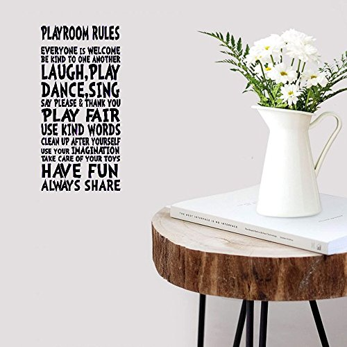 Wall Sticker Quotes Decals Decor Vinyl Art Stickers Playroom Rules Sign for Children Kids Girl Boy -