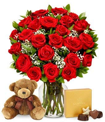 One Dozen Long Stem - Flowers - Two Dozen Long Stemmed Red Roses with Godiva Chocolates & Bear (Free Vase Included)