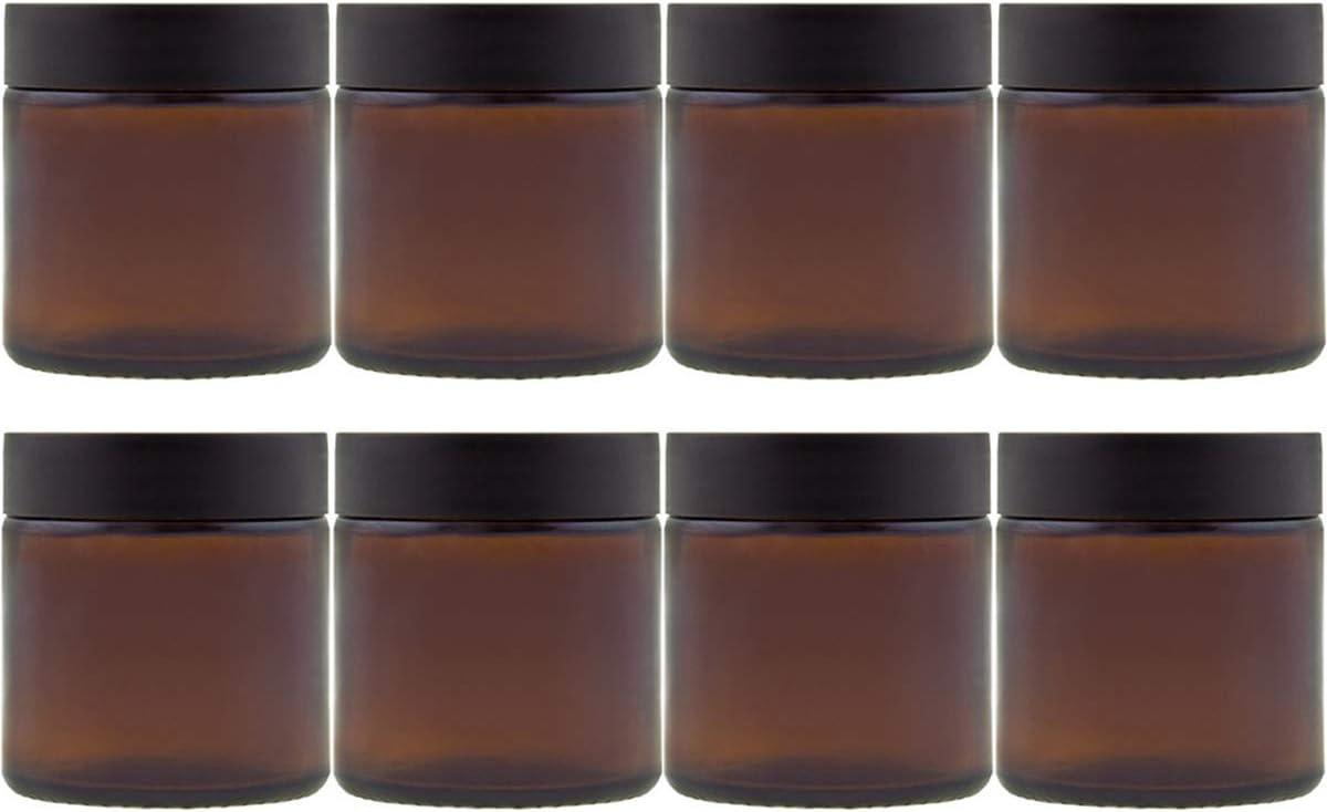 4//6//9 piezas tarro para crema de cristal marr/ón capacidad de 120 ml 6 unidades color marr/ón Negro Juego de tarros de cristal de hocz con tap/ón de rosca