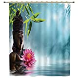 iPrint Shower Curtain,Zen Meditation Decor,Zen Waterlilly Flowers Spa Decor Nature Feng Shui Natural Calm Water Floral,Polyester Shower Curtains Bathroom Decor Sets with Hooks