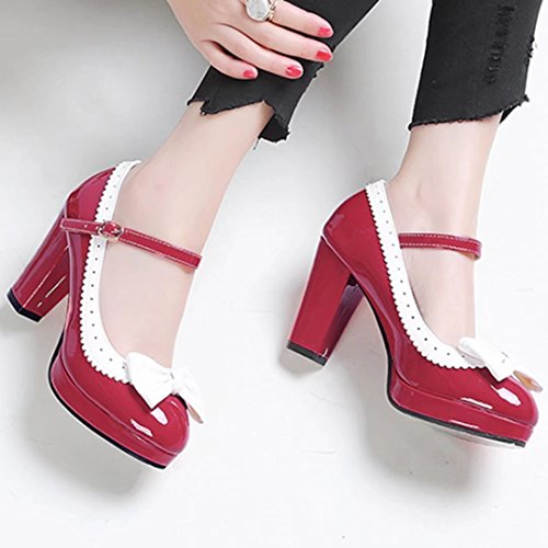 YE Women's Classic Platform Block Heel Ankle Strap Patent Leather Court Shoes with Bow Red dnsZrHH7N