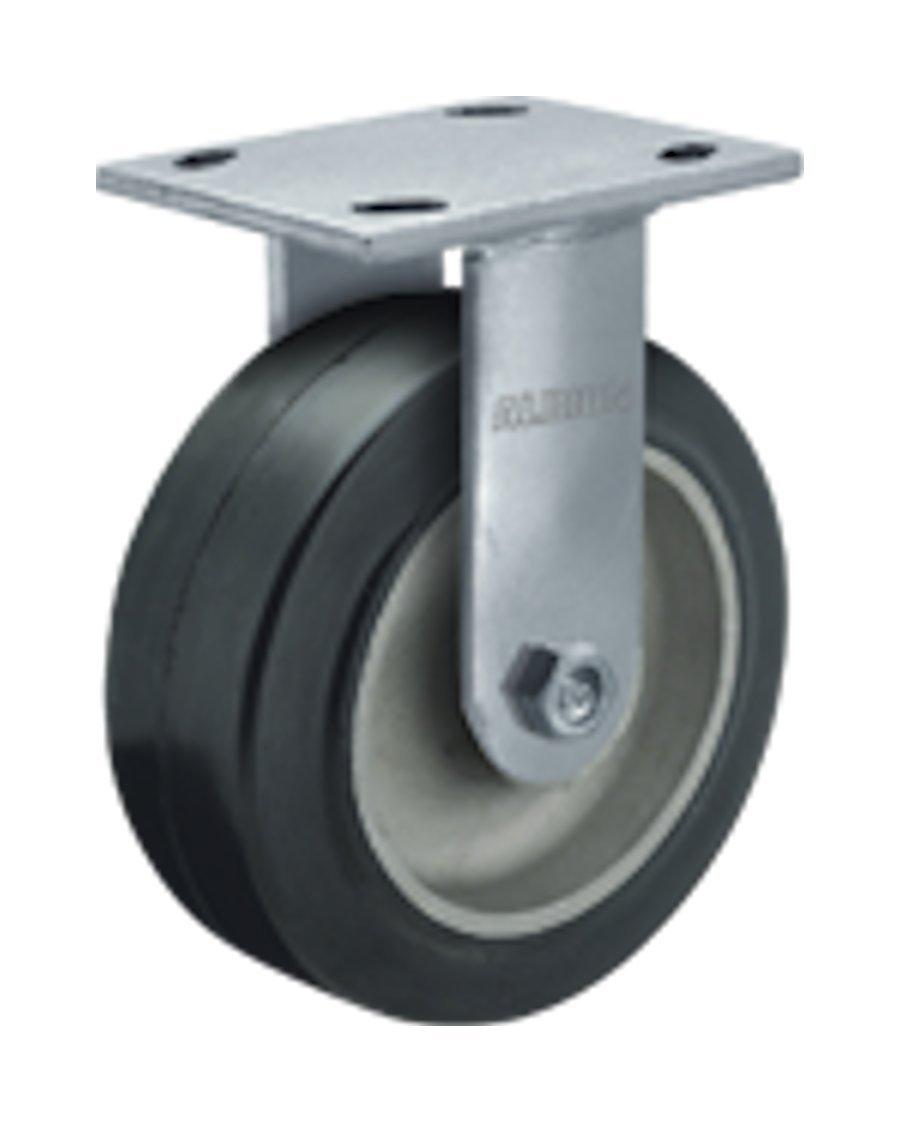Albion 16 Series 4'' Diameter Moldon Rubber on Aluminum Wheel Medium Heavy Duty Zinc Plate Rigid Caster, Roller Bearing, 4-1/2'' Length X 4'' Width Plate, 300 lbs Capacity (Pack of 4)
