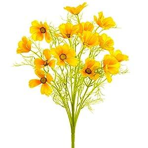 "Silk Flower Arrangements 22"" Silk Cosmos Flower Bush -Yellow (Pack of 6)"