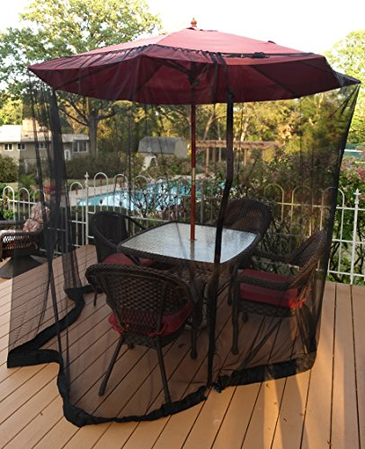 Patio Umbrella Mosquito Netting - Polyester Mesh Screen with Zipper Opening and Water Tube at Base to Hold in Place - Helps Protect from Mosquitoes - Fits 9FT Umbrellas and Patio Tables - Black ()