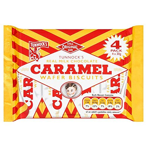 Tunnock's Real Milk Chocolate Caramel Wafer Biscuits 4 x 30g (Pack of 20 x 4s)