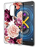 BAISRKE Huawei Honor 6X Case, Honor 6X Case with Flowers Slim Shockproof Clear Floral Pattern Soft Flexible TPU Back Cove for Huawei Honor 6X [Purple]