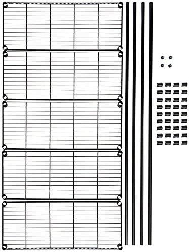 Amazon Basics 5-Shelf Adjustable, Heavy Duty Storage Shelving Unit (350 lbs loading capability consistent with shelf), Steel Organizer Wire Rack, Black,(36L x 14W x 72H)