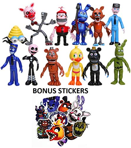 Five Nights at Freddy's Toys - FNAF Action Figures - Freddy Dolls Cake Toppers - Max Fun Set of 12 Troll Dolls - 100% PVC Material - 4