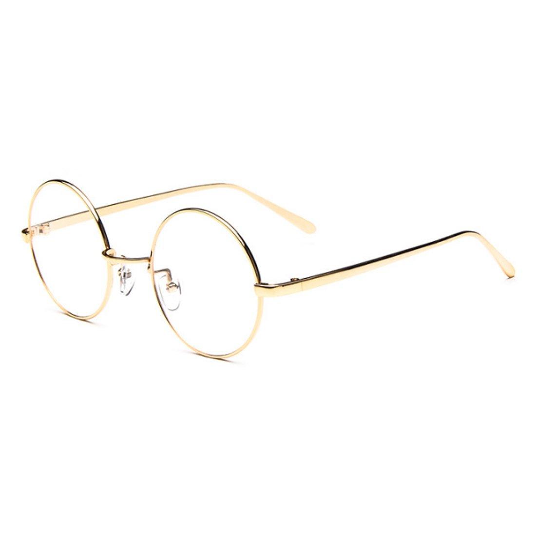 Inlefen Male Female Circular myopia Glasses frame Fine Frame Retro Glasses