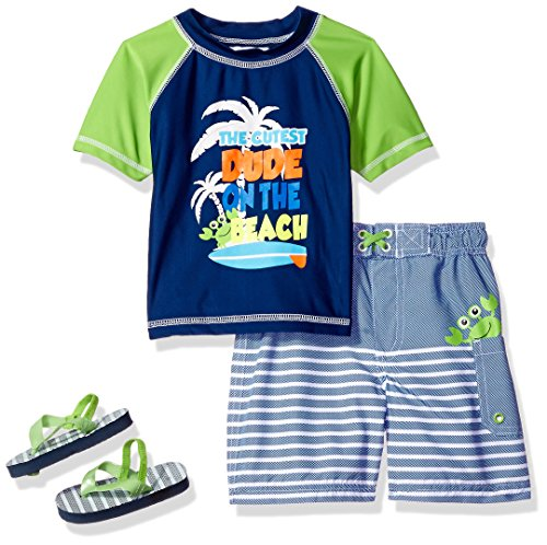 Price comparison product image Wippette Baby Toddler Boys' Palm Tree Rash Guard Set,  Navy,  2T
