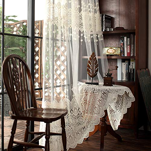 Aside Bside European Style Semi Sheer Voile Window Curtains Rod Pocket Floral Embroidered Design Panels for Living Room(1 Panel, W 50 x L 102 inch, White)