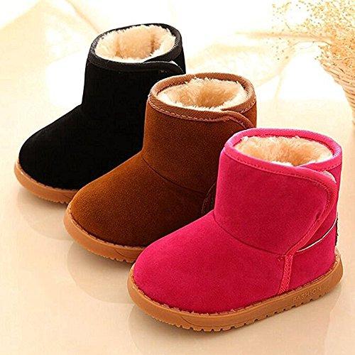 Baby Schuhe Winter Warme Watte Gepolsterten Kinder Mädchen Jungen Baumwolle Stiefel Warm Snow Boots Braun / Schwarz / Stieg Rot 21 -25 Highdas Stieg Rot