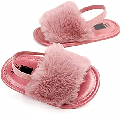 Prettyia Toddler Baby Girl Princess Fluffy Fur Sandals Slippers Pram Crib Shoes