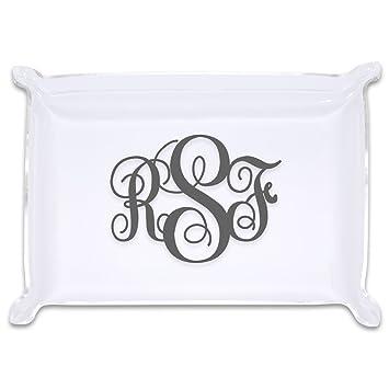 amazon com large monogram acrylic catchall trinket tray home kitchen