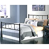 Green Forest Twin Bed Frame Platform with Headboard and Stable Metal Slats Mattress Base Boxspring Replacement, Black