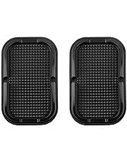 2 x Lilware Tappetino antiscivolo piano per cruscotto auto o altre superficie. Sostegno diversa attrezzatura - Telefoni, chiavi e altri piccoli oggetti. Nero