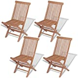 vidaXL Set of 4 Patio Teak Wood Folding Chairs Outdoor Seating Garden Seat For Sale