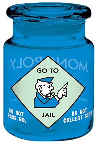 ICUP Hasbro - Monopoly Board Game Go to Jail 6oz. Blue Glass Storage Jar with Airtight Lid