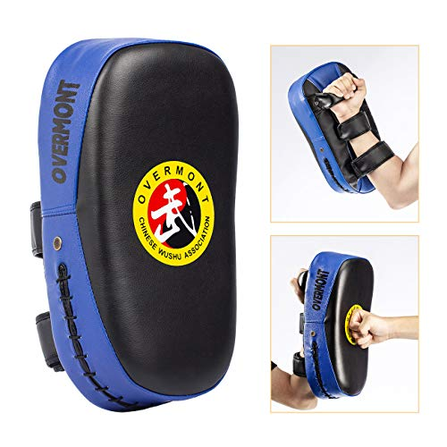 Overmont Taekwondo Kick Pads Boxing Karate Pad PU Leather Muay Thai MMA Martial Art Kickboxing Punch Mitts Punching Bag Kicking Shield Training (1PC)