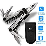 CLKjdz Multi Tool,10-in-1 Portable Stainless Steel Multi Tool With Plier,Knife,Screwdriver,File,Saw,Opener and Nylon Sheath