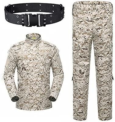 KYhao - Traje táctico Militar de Camuflaje para Hombre, Caza, Combate BDU, Camisa Uniforme y Pantalones con cinturón para Tiro, Caza, Juego de Guerra, ...