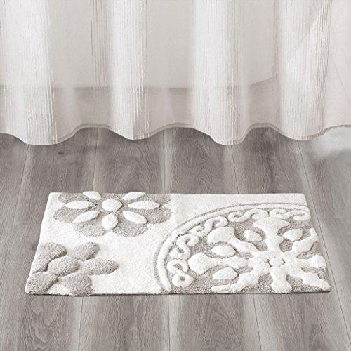 (Madison Park Casablanca Cotton Tufted Medallion Pattern Floral Ultra Soft Non-Slip Cute Chic Bath Mat Bathroom Rugs, 20X30