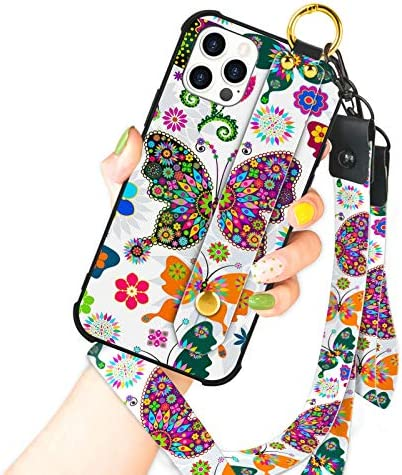 OOK Compatible with iPhone 12/12 Pro Case Butterfly Design Wrist Strap Cell Phone Cover with Lanyard Kickstand Band Protective Shockproof Stand Floral Pattern Bumper Case for Women Girls