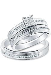 Amazon.com: 14k White Gold Three 3 Stone Round Diamond