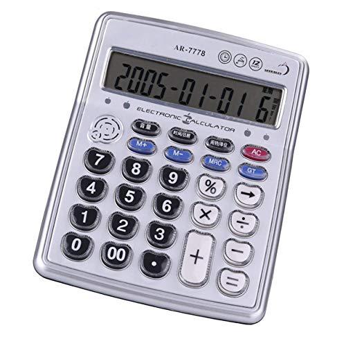 Egoelife Musical Desktop Calculator 12-Digits LCD Display with Alarm Clock and Voice Reading - Piano Keyboard Calculator