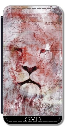 Leder Flip Case Tasche Hülle für Apple Iphone 7 Plus / 8 Plus - Löwe Kunstwerk Illustration by Andrea Haase