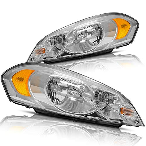 Headlights Assembly for 2006-2013 Chevrolet Impala 14-16 Impala Limited 2006 2007 Monte Carlo Replacement Headlamp Driving Light 25958359 25958360(Chrome Housing)