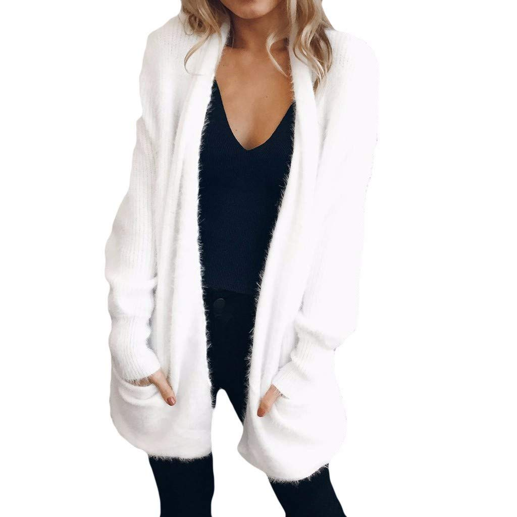 VEMOW Plus Size Cardigans for Women Jackets Patchwork Long Sleeve Shrug Solid Color Ladies Cardigans Blazers Tops Sweater Coat