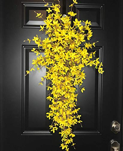 (Extra Large Forsythia Floral Teardrop Swag Wreath for Front Door Porch Indoor Wall Farmhouse Decor Spring Springtime Summer Summertime Mother's Day Easter, Handmade, Yellow, 3 Sizes-42