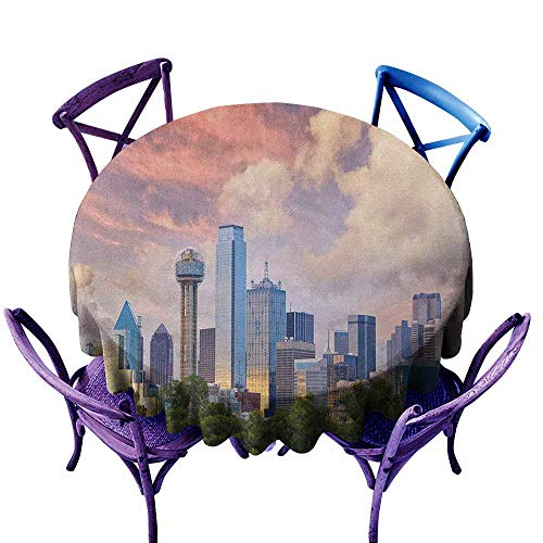 ONECUTE Indoor/Outdoor Round Tablecloth,United States Dallas City Skyline at Sunset Clouds Texas Highrise Skyscrapers Landmark,for Events Party Restaurant Dining Table Cover,43 INCH Multicolor]()