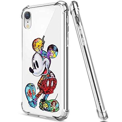 DISNEY COLLECTION iPhone XR Case Colorful Mickey Soft TPU and Hard PC Ultra-Thin Shockproof Transparent Bumper Protective Cover Case 6.1 Inch