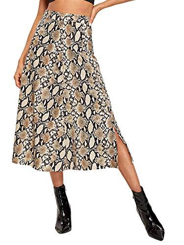 (WDIRARA Women's Vintage Snake Skin Mid Waist Long Length Animal Print Skirt Multicolor L)
