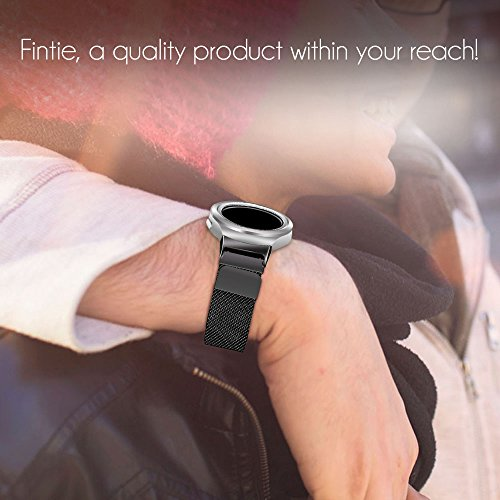 Gear S2 Watch Band [Large], Fintie [Magnet Lock] Milanese Loop Adjustable Stainless Steel Replacement Strap Bands for Samsung Gear S2 SM-R720 / SM-R730 Smart Watch - Black by Fintie (Image #7)