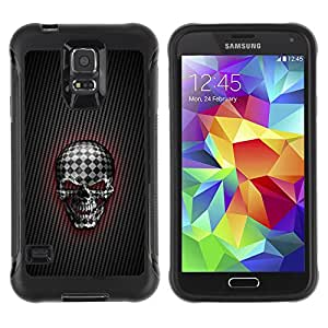 CAZZ Rugged Armor Slim Protection Case Cover Shell // Checkered Goth Skull // Samsung Galaxy S5