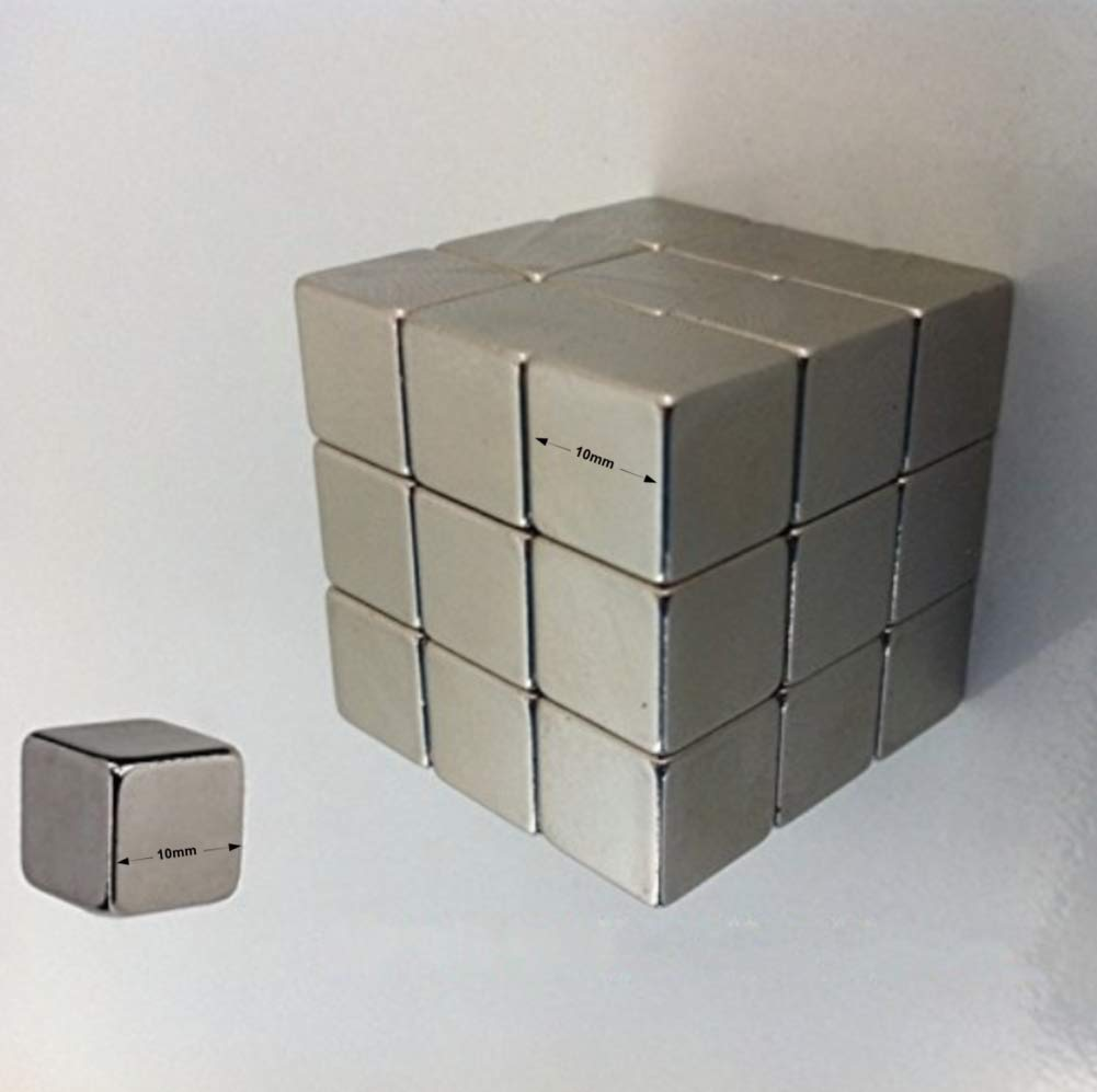 Small Strong Neodymium Magnet Tack Premium Pack 27 x 10mm Cube Squares in Silver Nickel for Fridge, Whiteboard, Office, Hobby Craft - Heavy Duty Secures Photos, To Do Lists, Keys Without Slipping by Aztec Designz