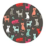 Cute Group Cats Round Mouse Pad Non-Slip Rubber Mouse Pad Mouse Mat for Gaming and Working (7.87in x 7.87in)