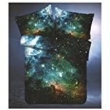Sandyshow Galaxy Quilt Cover Galaxy Duvet Cover Galaxy Sheets Space Sheets Outer Space Bedding Set Fitted/Flat sheet with 2 Matching Pillow Cases Queen Size(Comforter Not Include) (Fitted Sheet, 2)