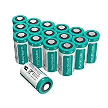 CR123A Lithium Batteries [Upgraded] RAVPower 3V Lithium Battery Non-Rechargeable, 16-Pack, 1500mAh Each/4.5Wh, 10 Years of Shelf Life for Arlo Cameras, Polaroid, Flashlight, Microphones and More (Green)