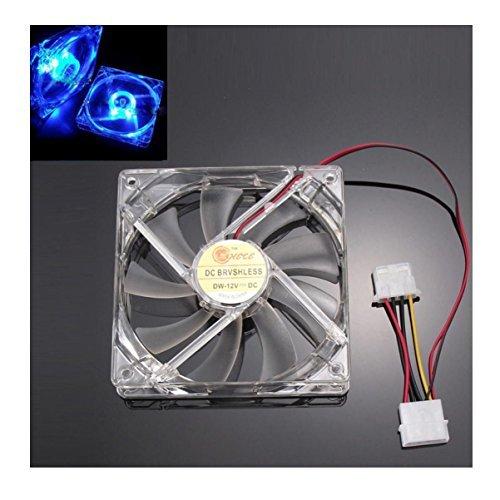 Quad Blue Led 120mm Fan - Fullkang Quad 4-LED Light Neon Clear 120mm PC Computer Case Cooling Fan Mod (Blue)